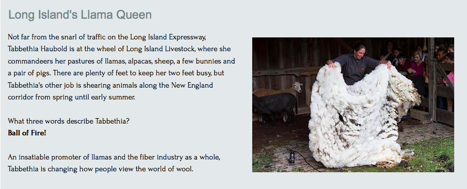 Insatiable supporter of the fiber industry, Tabbethia changes how the world views wool.